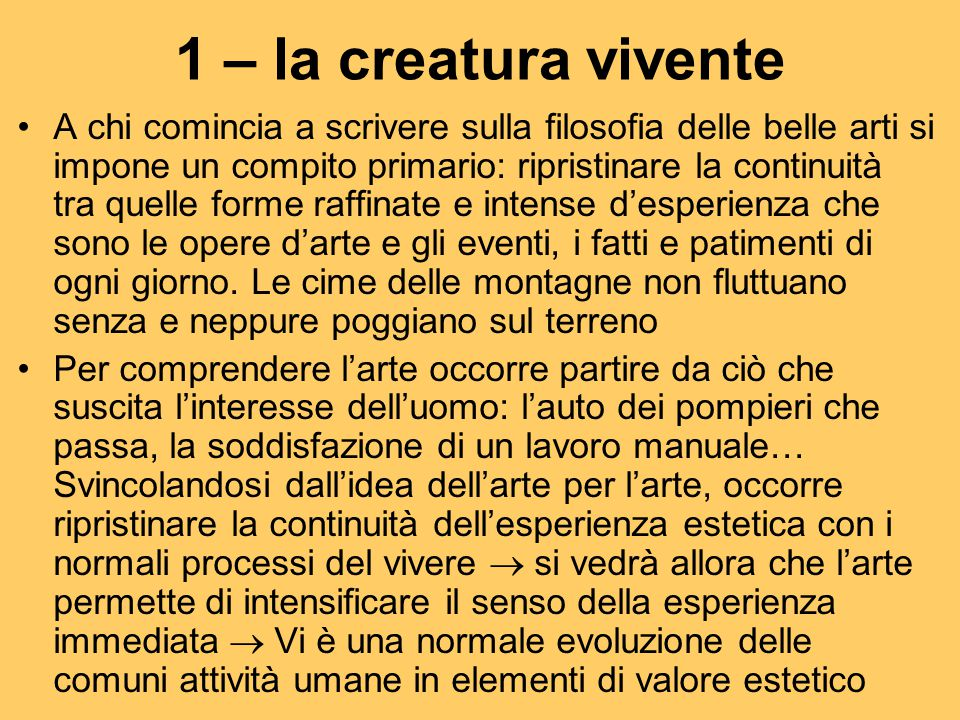 1 – la creatura vivente