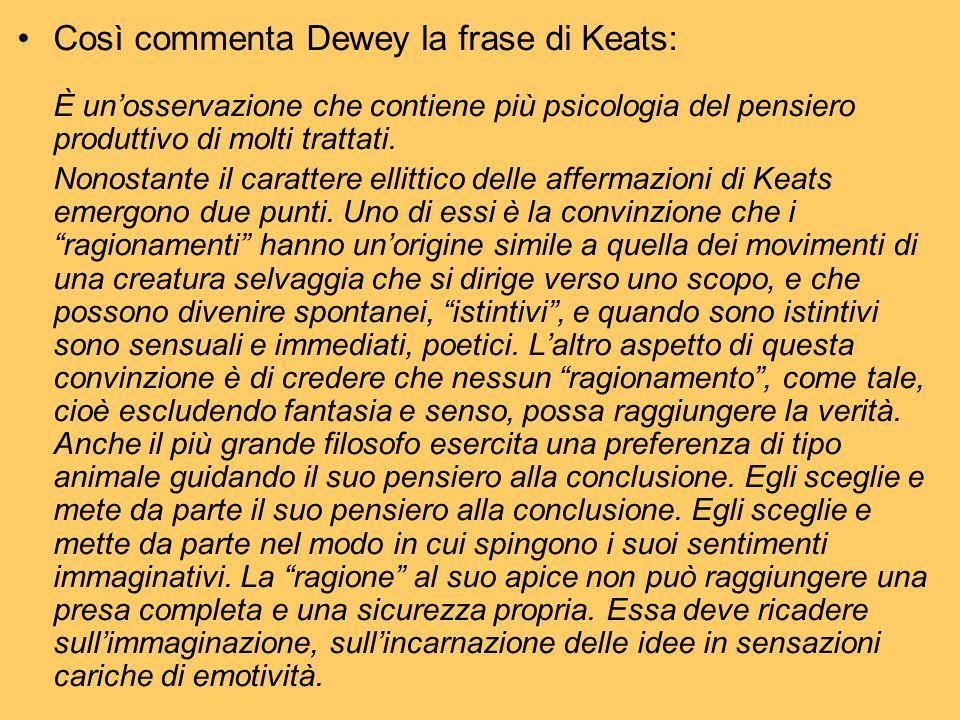 Così commenta Dewey la frase di Keats: