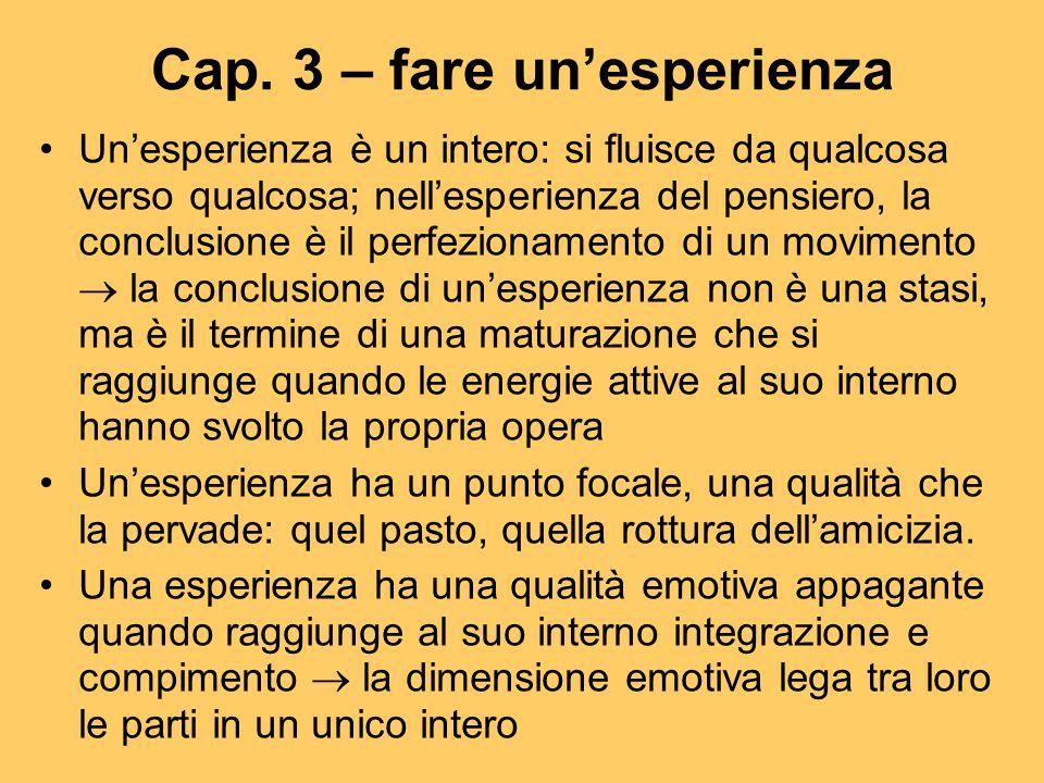 Cap. 3 – fare un'esperienza