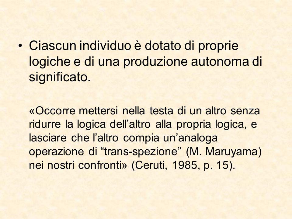 Ciascun individuo è dotato di proprie logiche e di una produzione autonoma di significato.