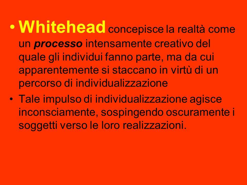 Whitehead concepisce la realtà come un processo intensamente creativo del quale gli individui fanno parte, ma da cui apparentemente si staccano in virtù di un percorso di individualizzazione