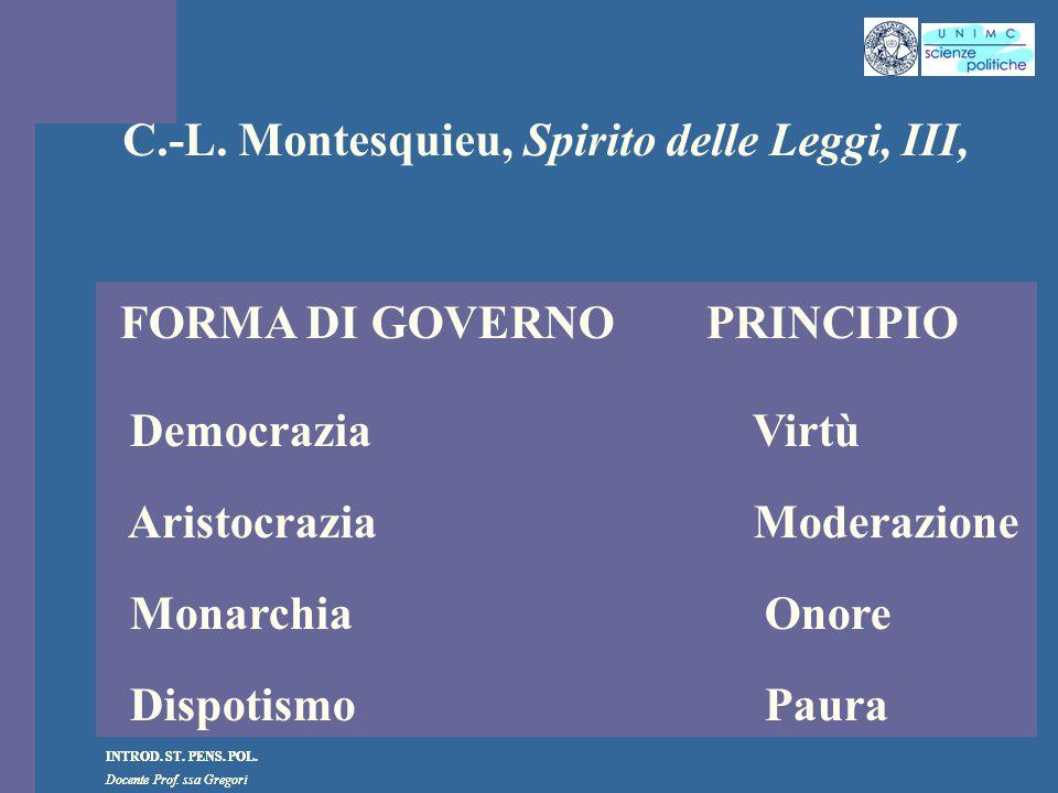 C.-L. Montesquieu, Spirito delle Leggi, III,