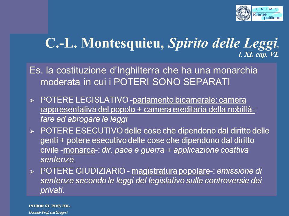 C.-L. Montesquieu, Spirito delle Leggi, l. XI, cap. VI.