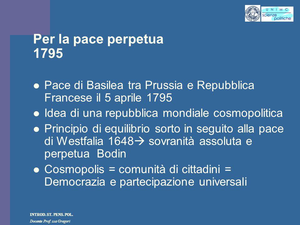 Per la pace perpetua 1795 Pace di Basilea tra Prussia e Repubblica Francese il 5 aprile 1795. Idea di una repubblica mondiale cosmopolitica.