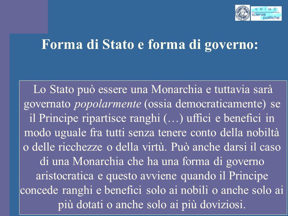 Forma di Stato e forma di governo: