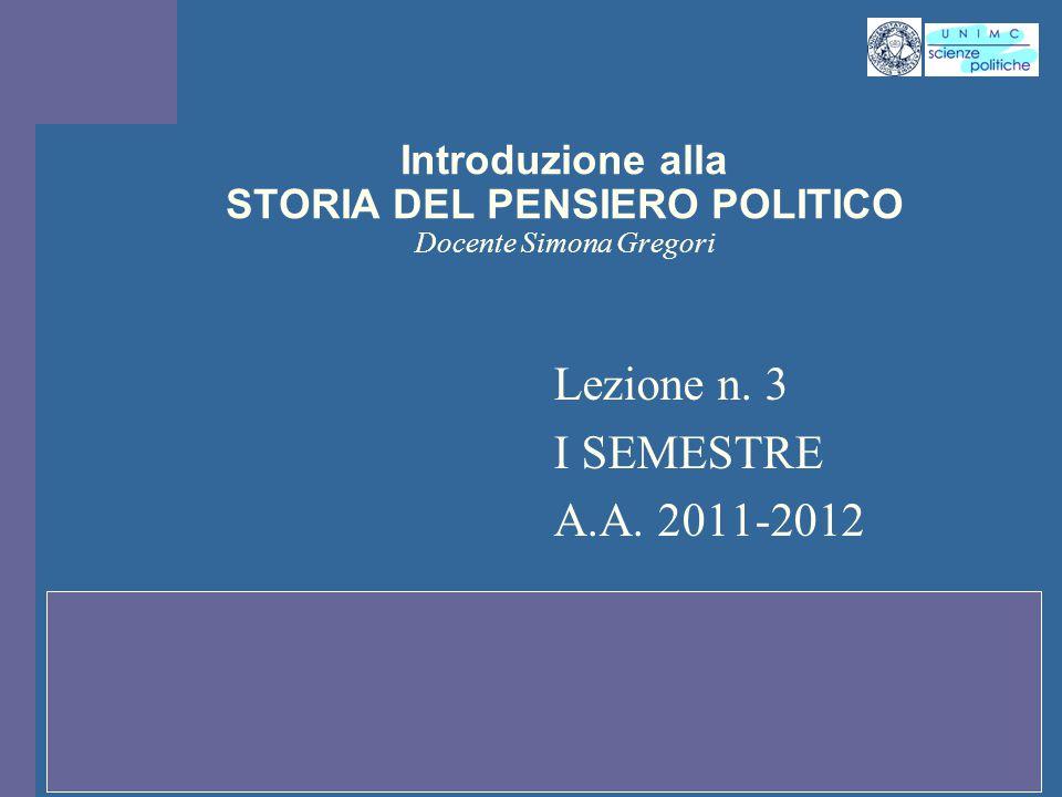 Introduzione alla STORIA DEL PENSIERO POLITICO Docente Simona Gregori