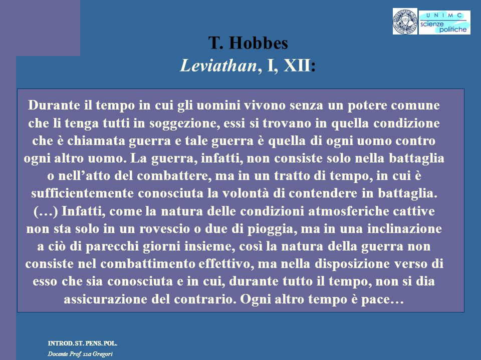 T. Hobbes Leviathan, I, XII: