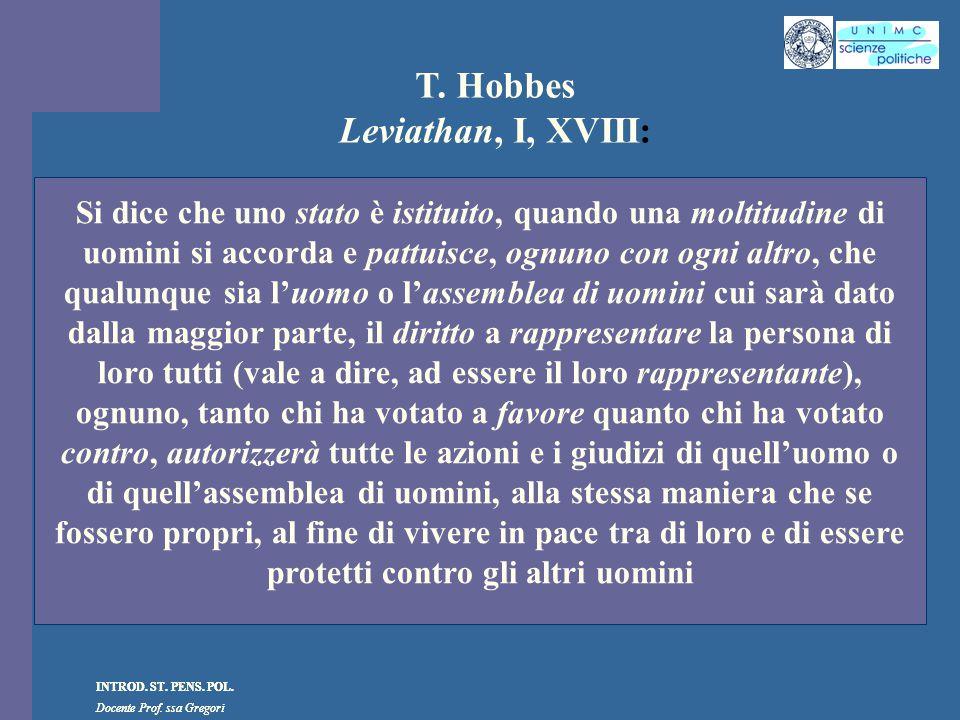 T. Hobbes Leviathan, I, XVIII: