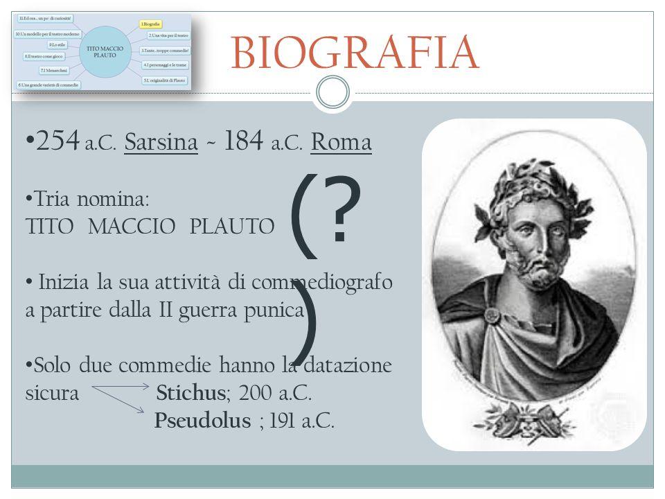 ( ) BIOGRAFIA 254 a.C. Sarsina - 184 a.C. Roma Tria nomina: