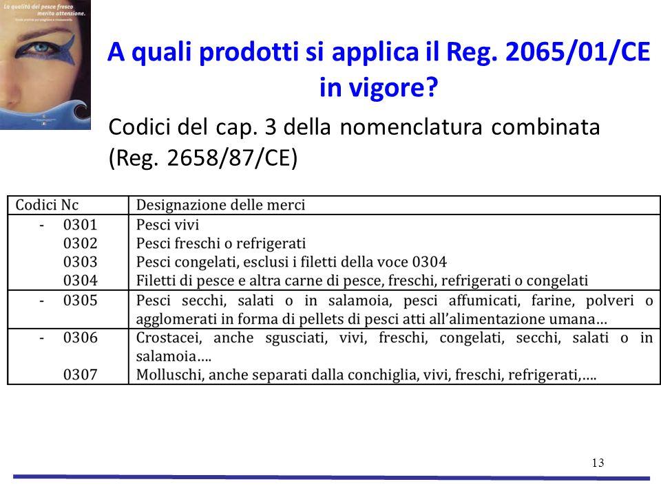 A quali prodotti si applica il Reg. 2065/01/CE in vigore