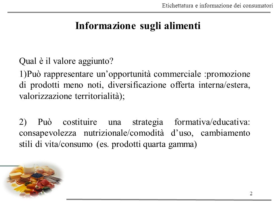Informazione sugli alimenti
