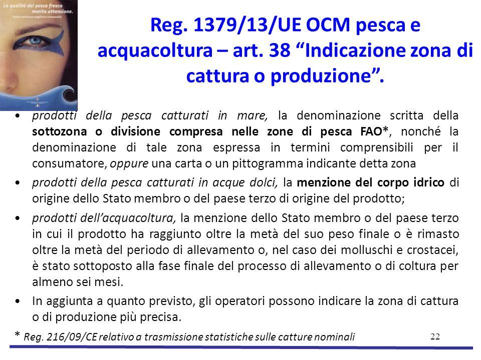 Reg. 1379/13/UE OCM pesca e acquacoltura – art