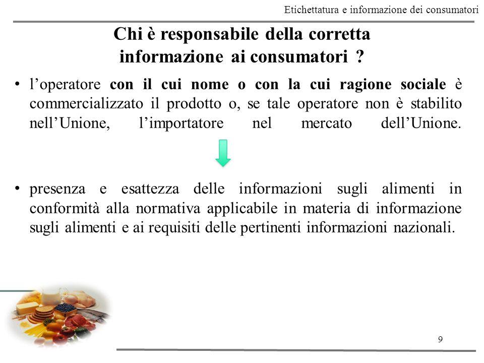 Chi è responsabile della corretta informazione ai consumatori