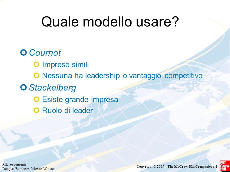 Quale modello usare Cournot Stackelberg Imprese simili