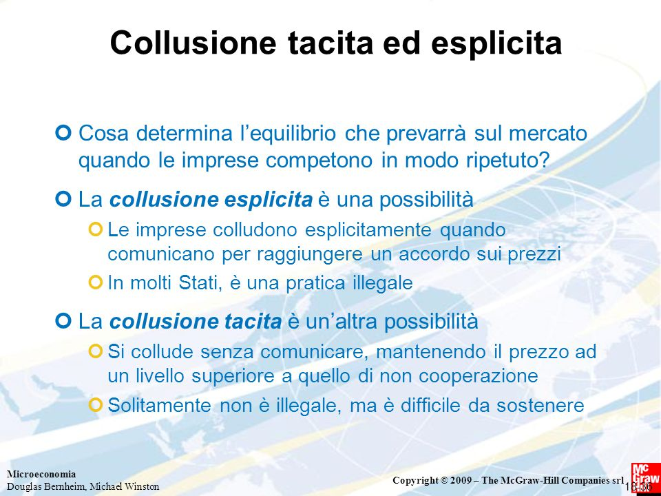 Collusione tacita ed esplicita