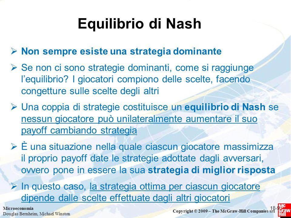 Equilibrio di Nash Non sempre esiste una strategia dominante