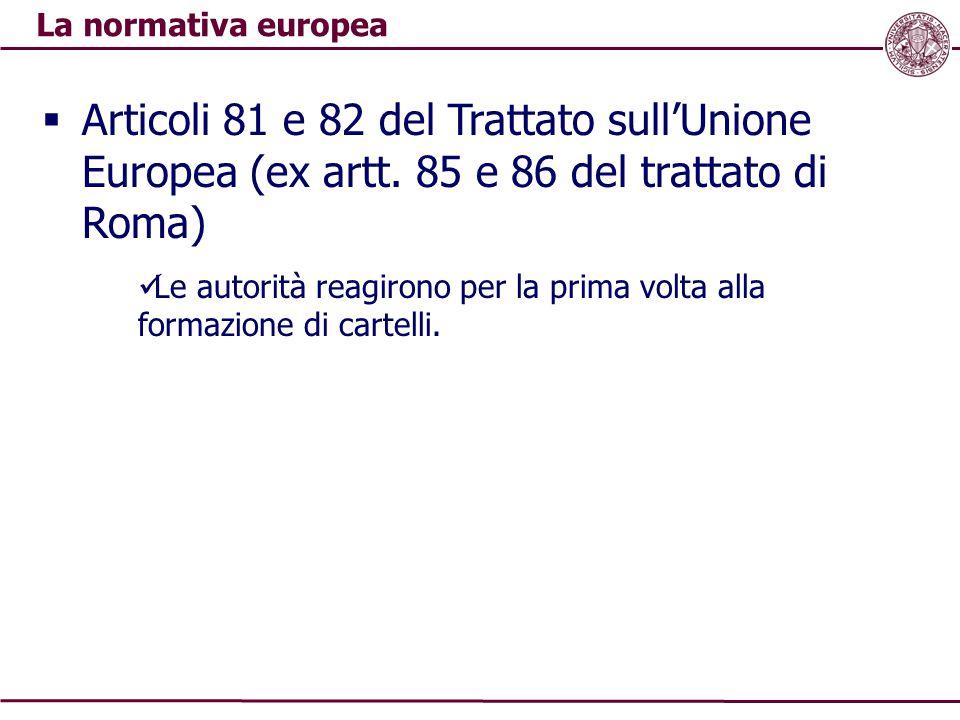 La normativa europea Articoli 81 e 82 del Trattato sull'Unione Europea (ex artt. 85 e 86 del trattato di Roma)