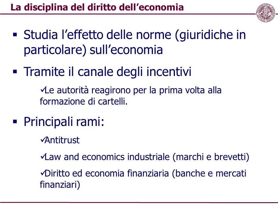La disciplina del diritto dell'economia