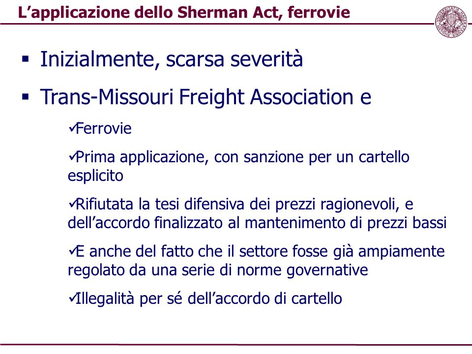 L'applicazione dello Sherman Act, ferrovie