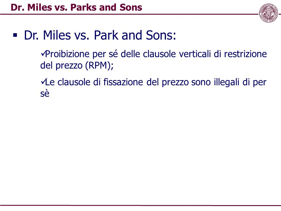 Dr. Miles vs. Parks and Sons