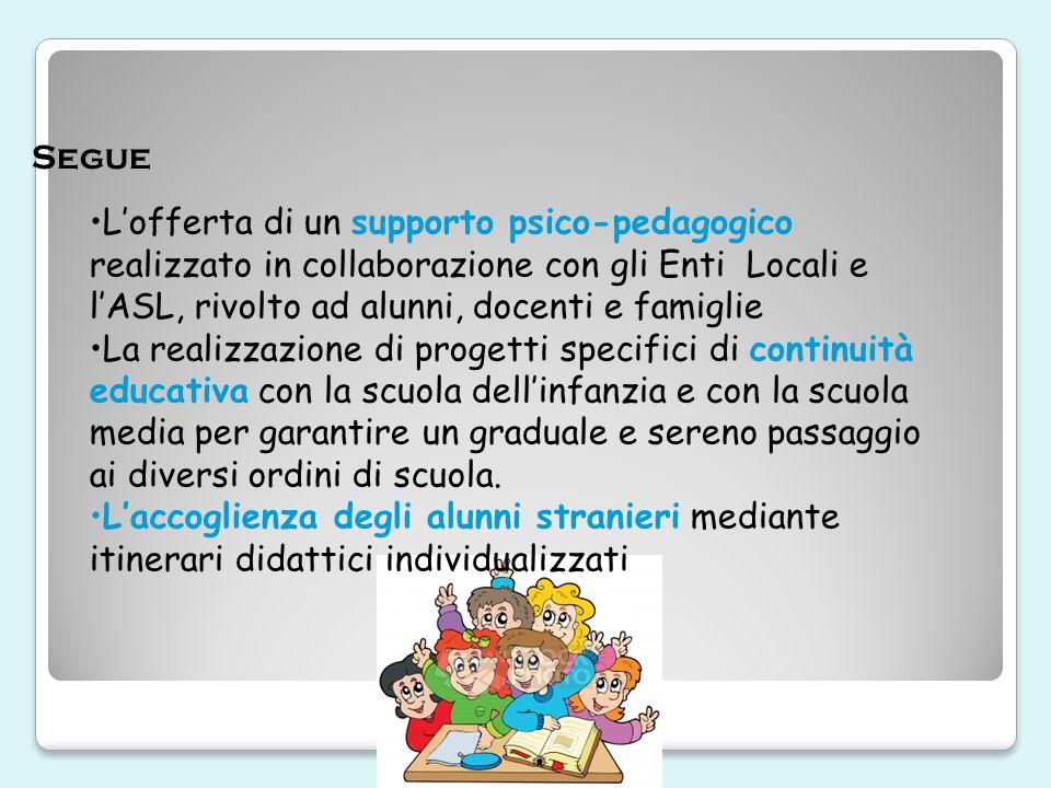 Segue L'offerta di un supporto psico-pedagogico realizzato in collaborazione con gli Enti Locali e l'ASL, rivolto ad alunni, docenti e famiglie.