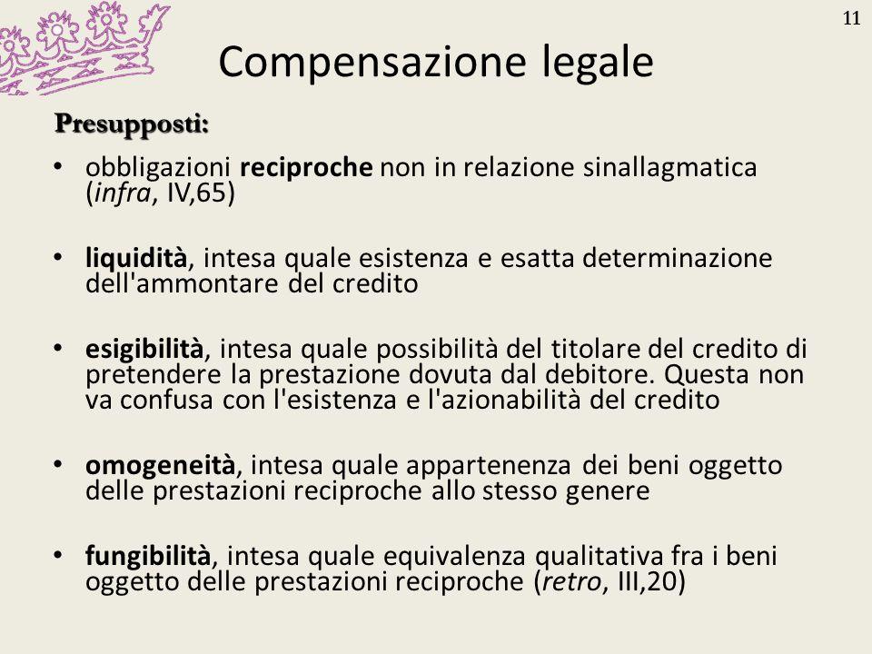 Compensazione legale Presupposti: obbligazioni reciproche non in relazione sinallagmatica (infra, IV,65)