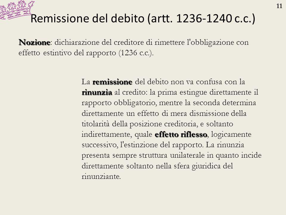 Remissione del debito (artt. 1236-1240 c.c.)