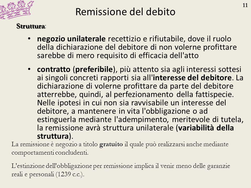 Remissione del debito Struttura:
