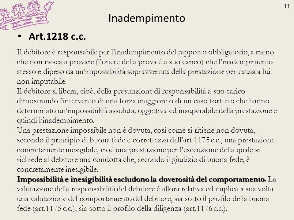 Inadempimento Art.1218 c.c.