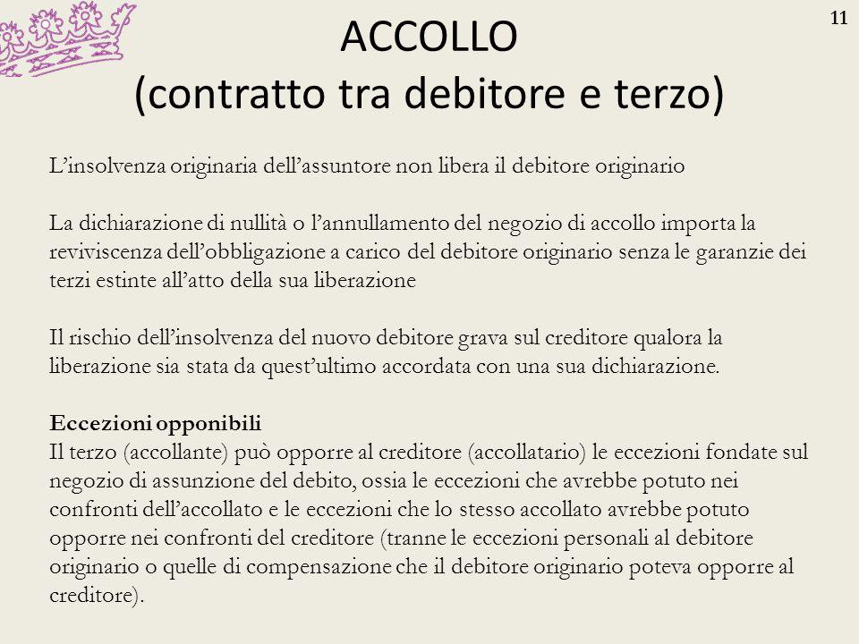 ACCOLLO (contratto tra debitore e terzo)