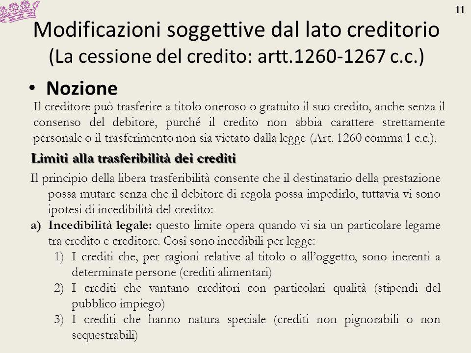 Modificazioni soggettive dal lato creditorio (La cessione del credito: artt.1260-1267 c.c.)