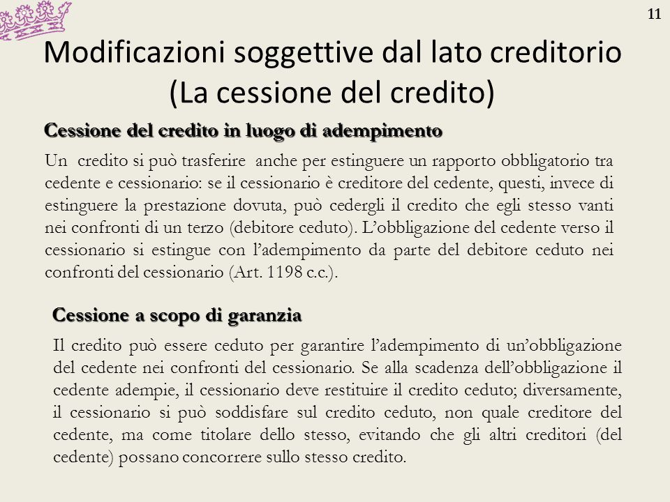 Modificazioni soggettive dal lato creditorio (La cessione del credito)