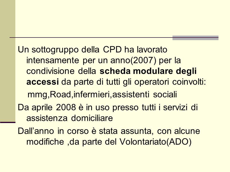 Un sottogruppo della CPD ha lavorato intensamente per un anno(2007) per la condivisione della scheda modulare degli accessi da parte di tutti gli operatori coinvolti: