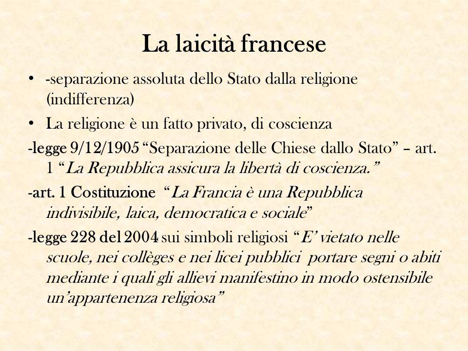 La laicità francese -separazione assoluta dello Stato dalla religione (indifferenza) La religione è un fatto privato, di coscienza.