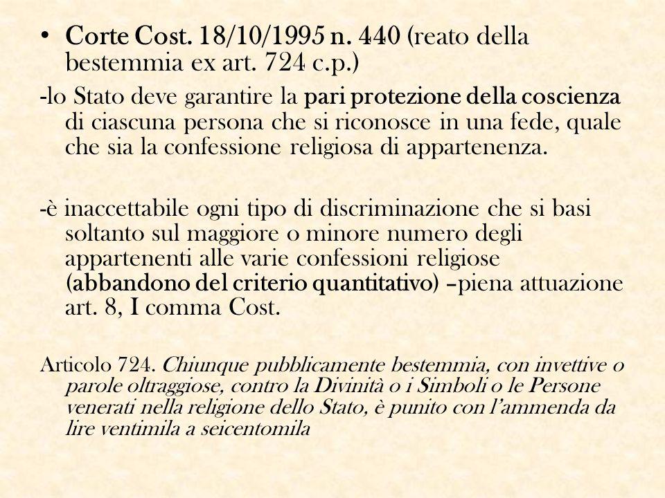 Corte Cost. 18/10/1995 n. 440 (reato della bestemmia ex art. 724 c.p.)