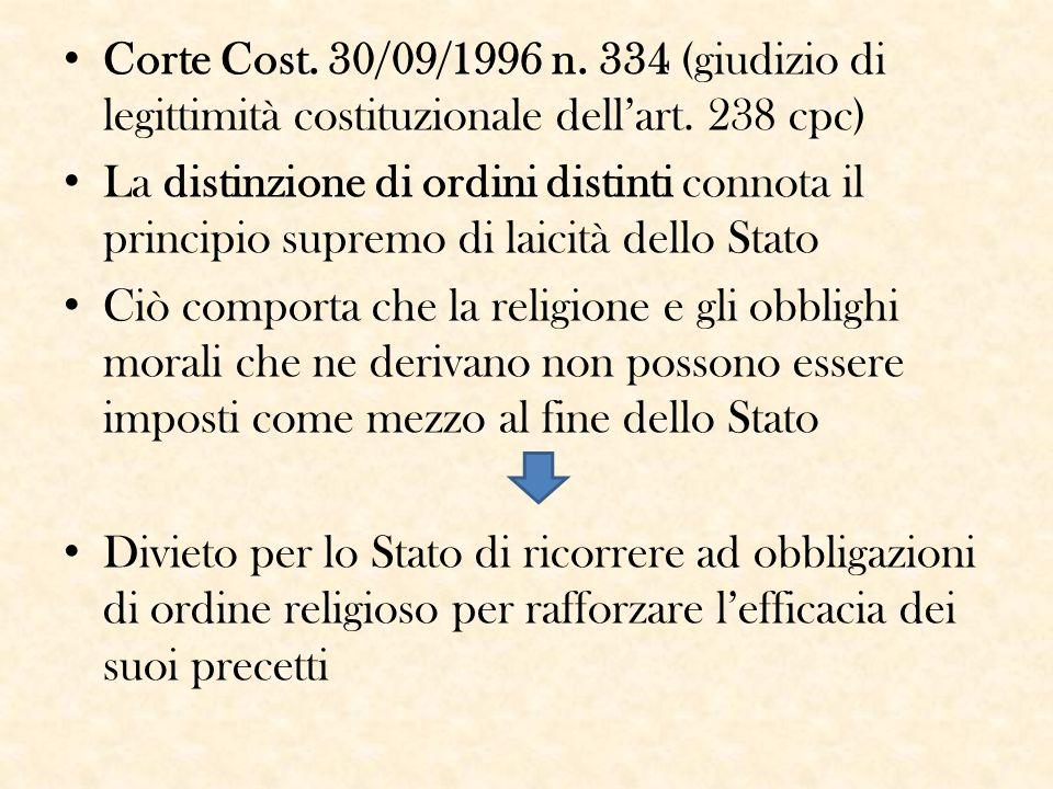 Corte Cost. 30/09/1996 n. 334 (giudizio di legittimità costituzionale dell'art. 238 cpc)