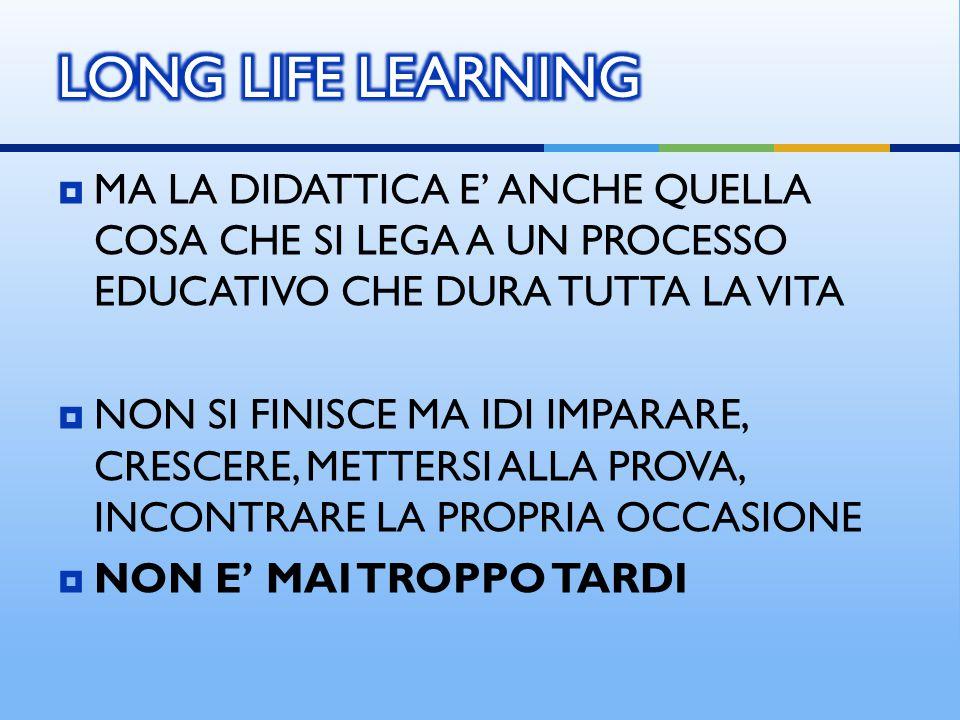 LONG LIFE LEARNING MA LA DIDATTICA E' ANCHE QUELLA COSA CHE SI LEGA A UN PROCESSO EDUCATIVO CHE DURA TUTTA LA VITA.