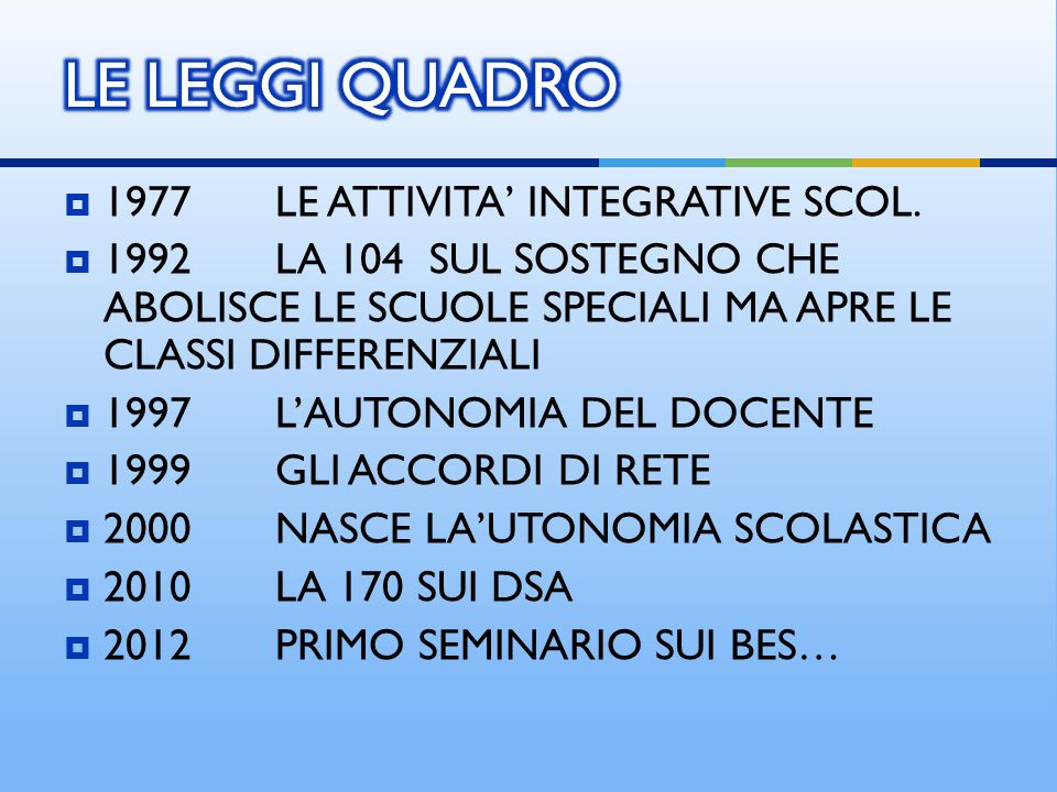 LE LEGGI QUADRO 1977 LE ATTIVITA' INTEGRATIVE SCOL.