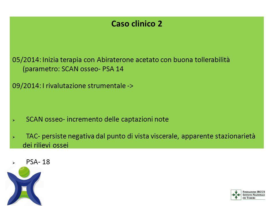 Caso clinico 2 05/2014: Inizia terapia con Abiraterone acetato con buona tollerabilità (parametro: SCAN osseo- PSA 14.