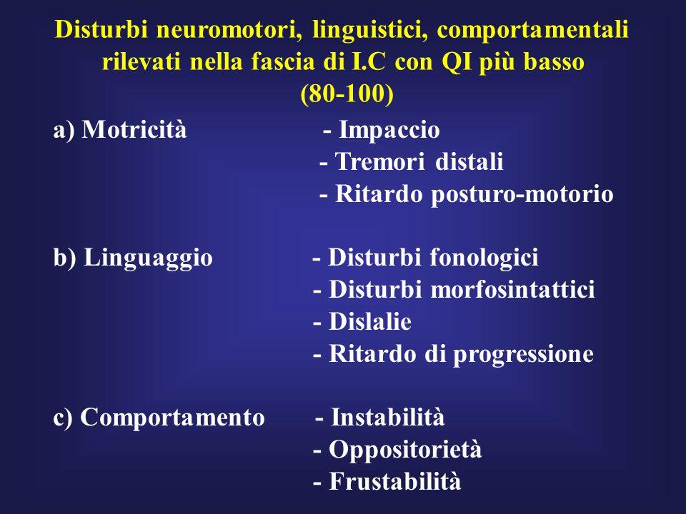 Disturbi neuromotori, linguistici, comportamentali