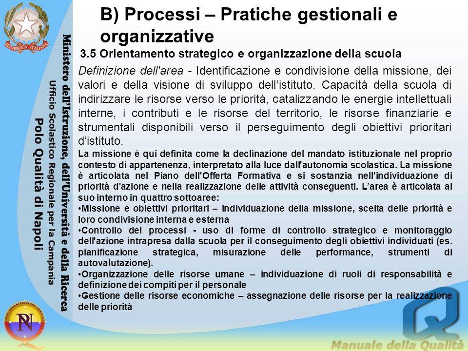 B) Processi – Pratiche gestionali e organizzative