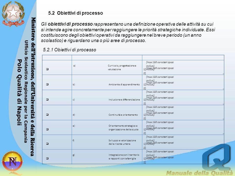 5.2 Obiettivi di processo