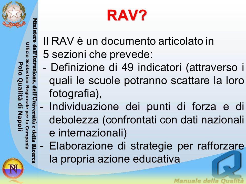 RAV Il RAV è un documento articolato in 5 sezioni che prevede: