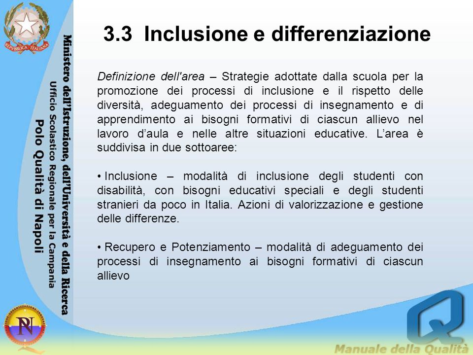 3.3 Inclusione e differenziazione