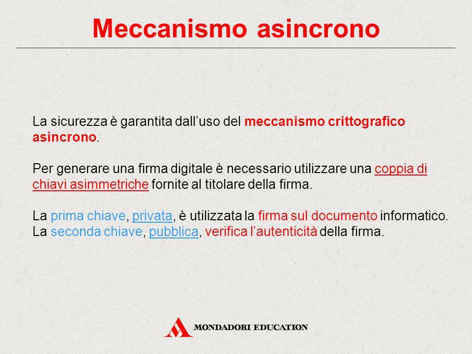 Meccanismo asincrono La sicurezza è garantita dall'uso del meccanismo crittografico asincrono.