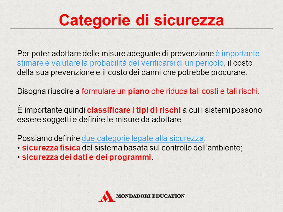 Categorie di sicurezza