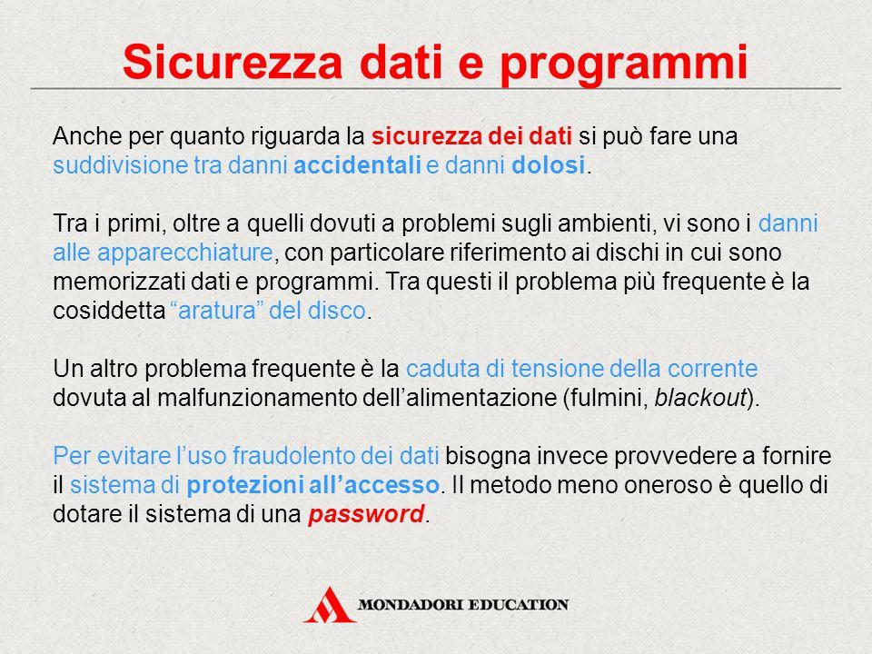 Sicurezza dati e programmi