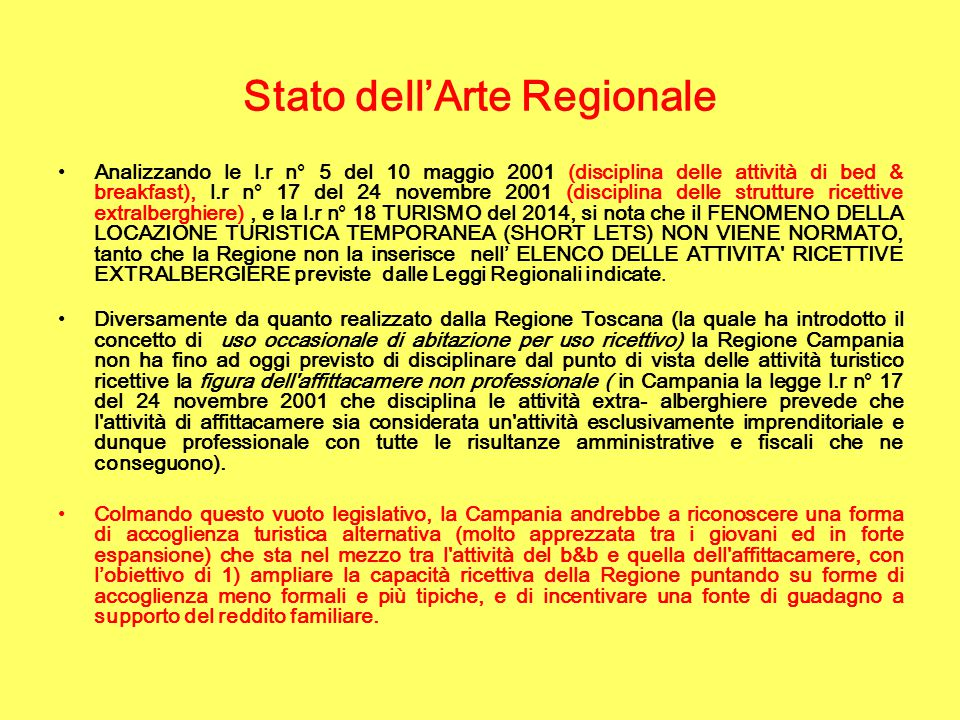 Stato dell'Arte Regionale