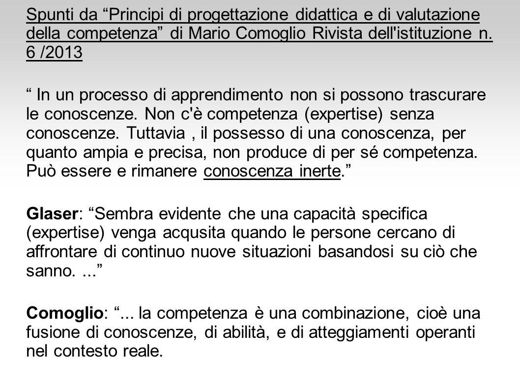 Spunti da Principi di progettazione didattica e di valutazione della competenza di Mario Comoglio Rivista dell istituzione n. 6 /2013