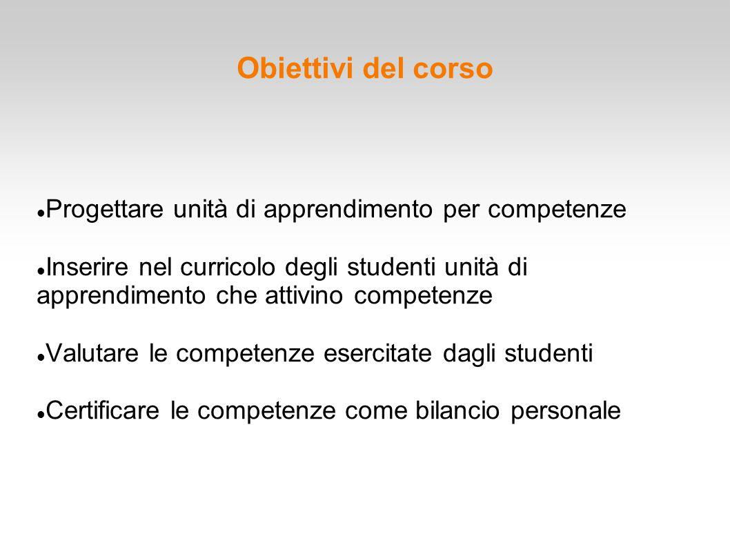 Obiettivi del corso Progettare unità di apprendimento per competenze